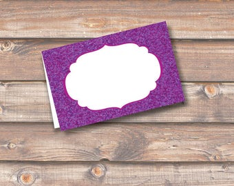 """Royal Purple Glitter Place Cards Printable Food Tags Placecards Plum Purple Sparkle Menu Place Card 3.5 x 2.25"""" Tent-Style INSTANT DOWNLOAD"""