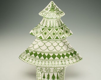 Large Tree Platter, Whimsical Christmas, Tree Shaped Serving Dinnerware, Decorative Tableware, Dessert Tray, Ceramic Dinnerware