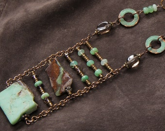 Mint and Chocolate ladder necklace: chrysoprase rough freeform slabs, smoky quartz, verdigris copper washers, leather