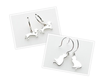 Sterling Silver Dangle Earrings Dog Cat Kitten Yorkie Lab Chihuahua Dachshund Horse Horseshoe for Women Animal Lover ONE Pair