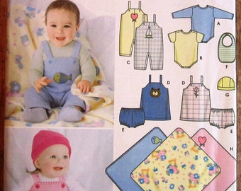 Babies Overalls, Jumper, Panties, Bib, Hat, Blanket and Knit One-Piece Underwear Sizes Xxs Xs S M L Simplicity Pattern 5374 UNCUT