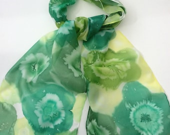 Green Flowers hand painted silk scarf.  Silk scarves.  Green Floral Scarf