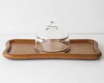 Vintage Mid Century Teak & Glass Cheese Tray