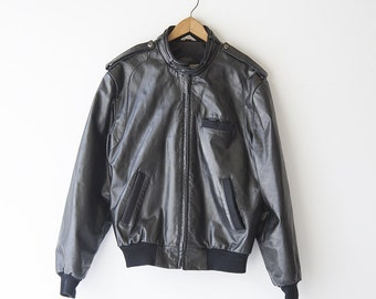Vintage Members Only Black Leather Motorcycle Jacket