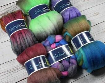 Wool Sampler Set - 10.6 oz - Hand dyed wool - Hand dyed roving - Merino - Silk - Yak - Targhee - Tencel - Polwarth - Mohair - Alpaca