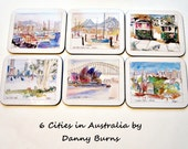 Vintage Boxed Set Coasters- Cork Backed - Jason Designer Collection - 6 Australian City Scenes -