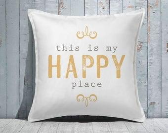 Custom Decorative Pillow | Throw Pillow | Custom Pillow | 20 x 20 Pillow Cover | Custom Pillow Cover | Personalized Pillow | happy place