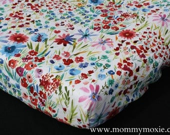 Fitted Crib Sheet/Changing Pad Cover/Mini Crib Sheet in Watercolor Flowers- Rustic Garden Wildflower Nursery Print - by Mommy Moxie on Etsy
