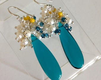 Ashira Paraiba Blue Elongated Briolette with a Cluster of London Blue Quartz, Yellow Fresh Water Pearls Wire Wrapped