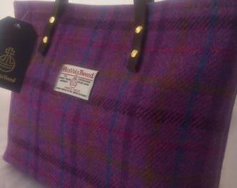 Harris tweed purple handbag purse gift for her girlfriend gift tartan bag Scottish gift