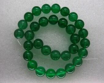 16 Inch Strand Green Jade Smooth Round Beads 12mm