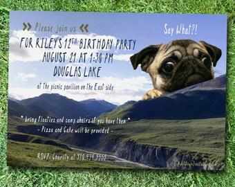 Pug Dog Party Invitation *Digital Download*