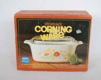 Vintage Corning Ware WILDFLOWER A-1 1/2-7 Covered Casserole New In Box 1.5 Liter with Pyrex Lid