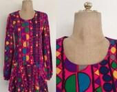 SALE 1970's Geo Print Polka Dot Multicolored Mod Mini Dress Vintage Dress Size Small by Maeberry Vintage