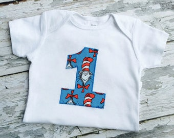 Baby's First Birthday Cat In The Hat Number One Onesie Baby Boy Or Girl