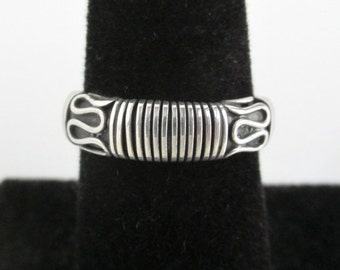 925 Sterling Silver Ring / Band - Textured Front - Vintage, Size 6 1/4