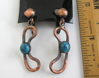 Hammered Copper & Faux Turquoise Earrings - Vintage Unused, Southwestern