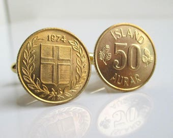 ICELAND Coin Cuff Links - Repurposed Vintage Icelandic 50 Aurar Gold Coins