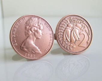 New Zealand Coin Cuff Links - Vintage Bronze Repurposed Coins