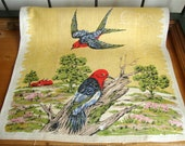 Vintage Printed Bird Linen Kitchen Towel 16 x 26 Red Barn Chimney Swifts Awesome