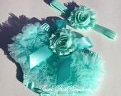 Baby Bloomer, Mint Aqua Chiffon Ruffle Bloomer and Headband, Baby Photo Prop Set, Mint Newborn Bloomer, Baby Bloomer Set, Baby Girl Set