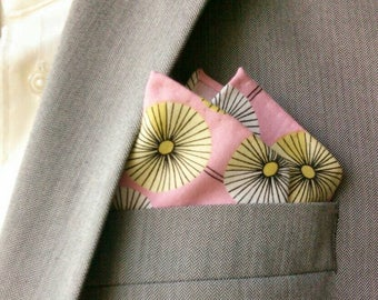 Pink And White Modern Floral Cotton Print Pocket Square With Hand-Rolled Hems