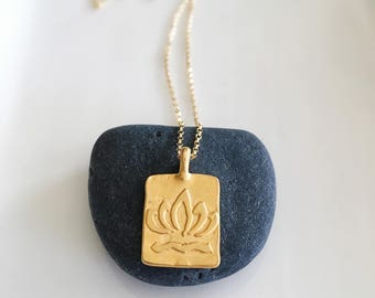 Gold Lotus Necklace,Lotus Necklace,Lotus Flower Necklace,Yoga Jewelry,Gold Rectangle Necklace,Zen Jewelery,Gift For Her,Gold Flower Necklace
