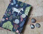 Notebook & badge set woodland print fabric - unicorns, badgers, hares.  Removable cover
