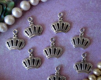 SALE 20% OFF Antique Silver Metal Crown Charms Pendants 12 pcs Jewelry Design Assemblage
