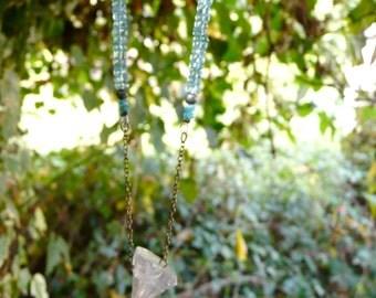 Green sparkling necklace pastel ( mermaid, aqua water ) 01