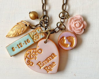 New Baby Girl, New Baby Boy, Name and Birthdate Necklace for Mom