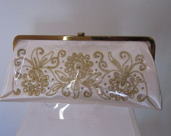 """Vintage 1960s """"Leslie of Miami"""" Clutch Plastic Covered Satin and Gold"""