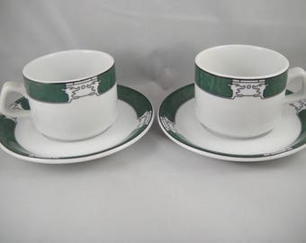 Minh Long Porcelain Cups and Saucers Set of Two Vietnam