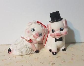 Adorable Piggy Couple Ceramic Bride and Groom