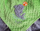 Shark Personalized Minky Baby Blanket, Personalized Minky Baby Blanket, Personalized Baby Gift, Shark Appliqued Minky Baby Blanket