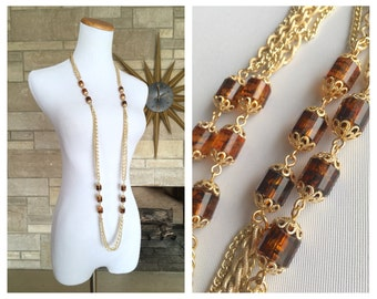1970s Extra Long Necklace * Root Beer Lucite Beads * Signed Sarah Cov * Golden Lanterns Necklace