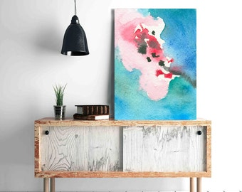 Watercolor Painting - Cherry Blossom Abstract Art Print - Pink Blue Home Decor