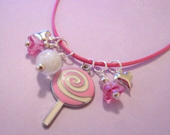 Girl Necklace, Lollipop, Glow in the Dark, Pink
