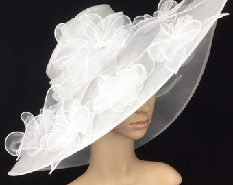 White Wedding Hat,White Kentucky Derby Hat ,Organza Hat ,Derby Hat,Dress Hat ,Bridal Wedding Hat,Tea Party Hat Ascot