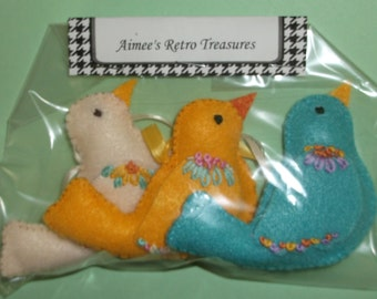 Hand Crafted Felt Embroidered Bird Ornaments - Yellow Blue White
