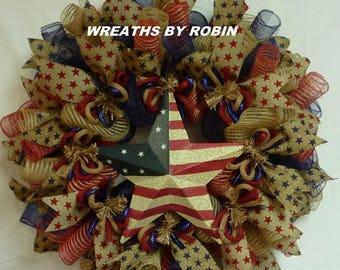 12% OFF Patriotic Rustic Burlap Star Wreath, Burlap Deco Mesh Wreath (2044)