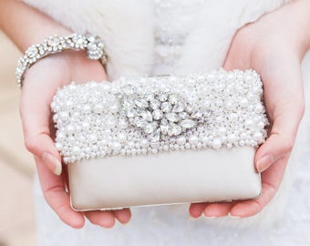 Ivory Bridal Clutch, Bridesmaid Clutch Purse, Beaded Evening Bag, Rhinestone Clutch, Wedding Clutch Bag, Pearl Clutch, Bridal Purse