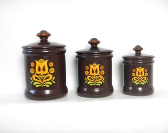 Vintage 1970s Brown Dutch Tulip Aluminum Canisters by West Bend