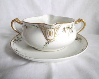 Antique Haviland Limoges Gravy Boat with Attached Under Plate 1894 -1931 2 Handles 2 Spouts VERY RARE