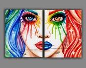 Set Of TWO Separate Art Prints - 5x7, 8x10, or apprx 11x14 inch Prints - Split Personality Set