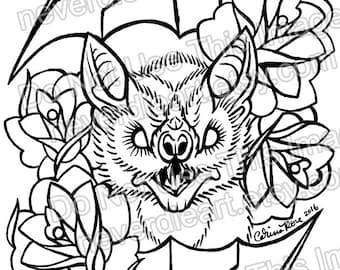 digital download print your own coloring book outline page bat and roses old school traditional - Print Your Own Coloring Book