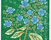 Hydrangea block print 5x7 original linocut green blue watercolor home decor sfa
