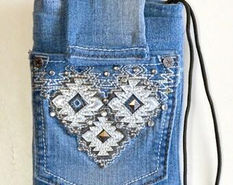 "4.75"" x 6.5"" smart phone denim crossbody bag, belt loop phone bag, clip on phone bag, mini crossbody purse, upcycled denim crossbody bag"