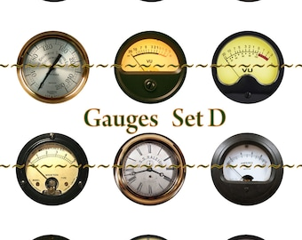 "Steampunk Guages Pins, Magnets or flatback cabochon buttons, steampunk, dieselpunk, industrial, 1 inch or 2.25 "" available, Set B"