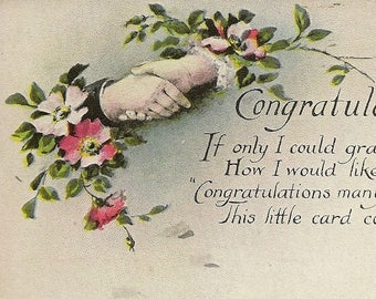 Congratulation Vintage Postcard Hands in Handshake With Floral Accents Congratulatory Verse 1921